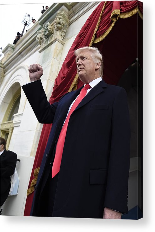Three Quarter Length Acrylic Print featuring the photograph Donald Trump Is Sworn In As 45th President Of The United States by Pool
