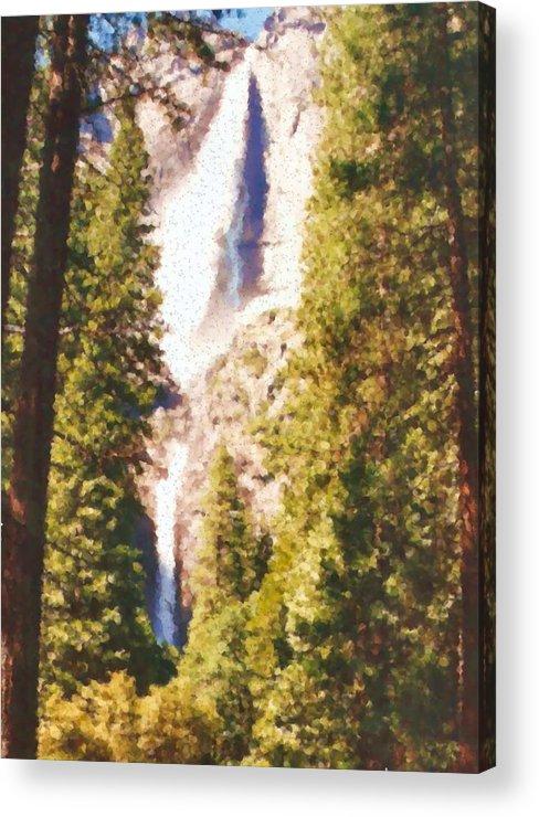 Yosemite Acrylic Print featuring the mixed media Yosemite by Asbjorn Lonvig
