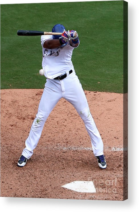 People Acrylic Print featuring the photograph Elvis Andrus by Tom Pennington
