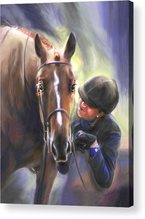 Horse Acrylic Print featuring the painting A Secret Shared Hunter Horse With Girl by Connie Moses