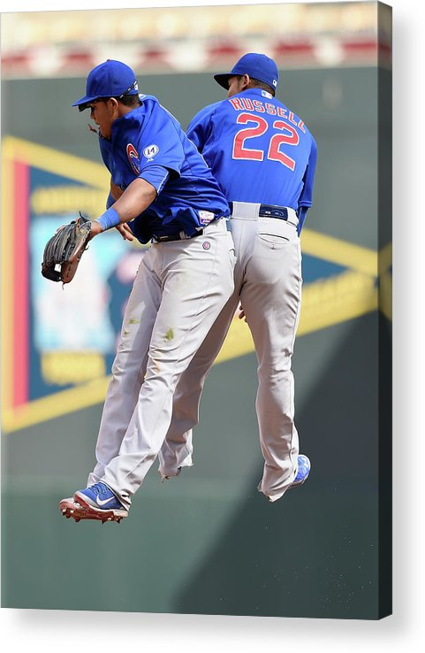 People Acrylic Print featuring the photograph Addison Russell and Starlin Castro by Hannah Foslien