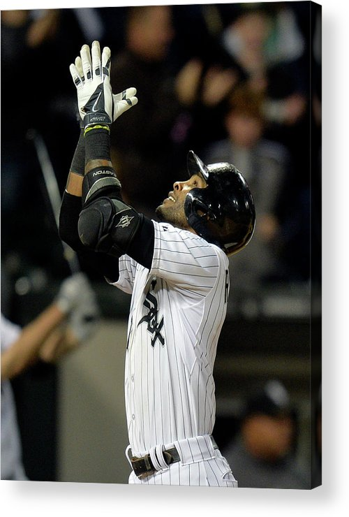 American League Baseball Acrylic Print featuring the photograph Alexei Ramirez and Adam Dunn by Brian Kersey