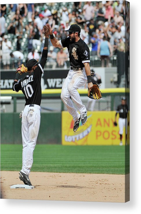 American League Baseball Acrylic Print featuring the photograph Alexei Ramirez and Adam Eaton by David Banks