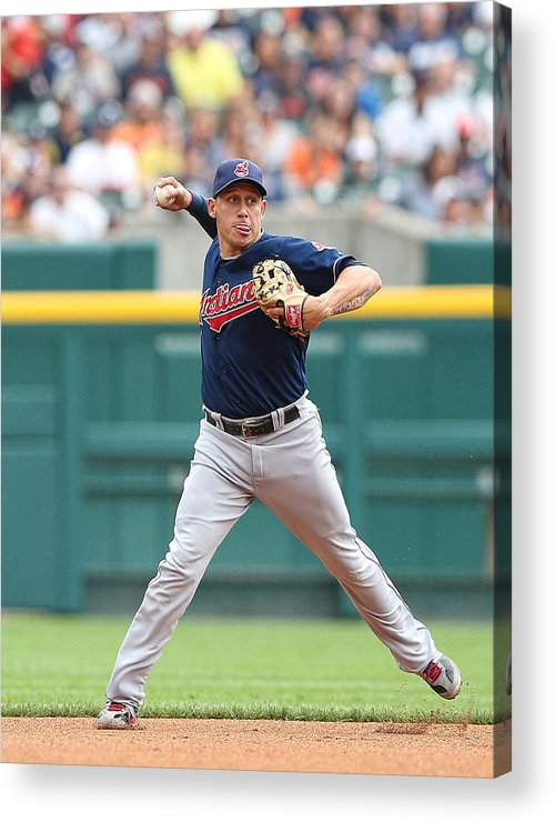 American League Baseball Acrylic Print featuring the photograph Asdrubal Cabrera and Torii Hunter by Leon Halip