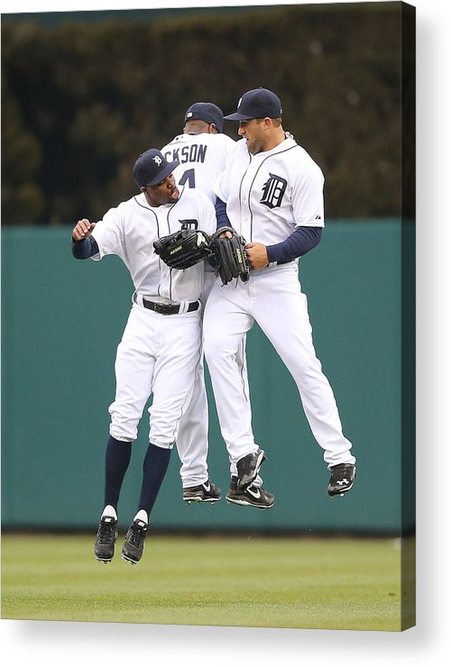 American League Baseball Acrylic Print featuring the photograph Austin Jackson, Rajai Davis, and Tyler Collins by Leon Halip