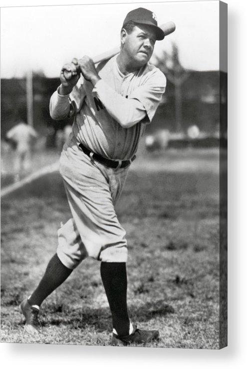 American League Baseball Acrylic Print featuring the photograph Babe Ruth by Mlb Photos