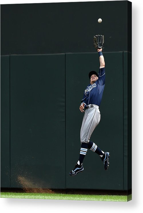 Second Inning Acrylic Print featuring the photograph Brandon Guyer and Eddie Rosario by Hannah Foslien