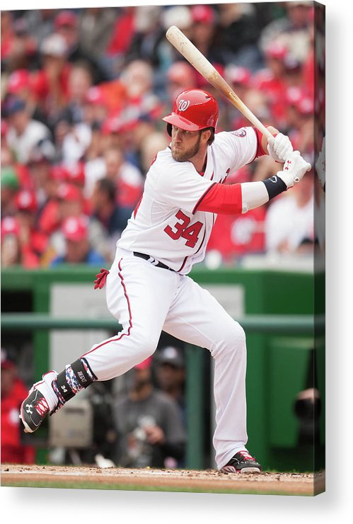 National League Baseball Acrylic Print featuring the photograph Bryce Harper by Mitchell Layton