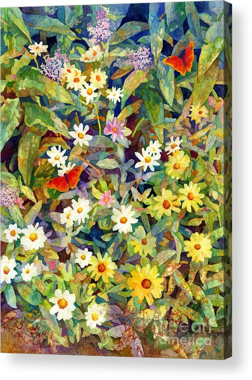 Flowers Acrylic Print featuring the painting Butterfly Garden by Hailey E Herrera