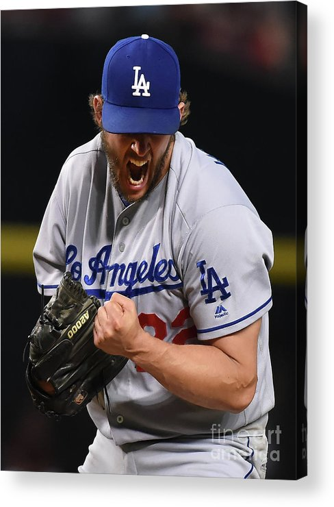 Three Quarter Length Acrylic Print featuring the photograph Clayton Kershaw and Nick Ahmed by Norm Hall