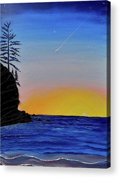 Acrylic Print featuring the painting Commit Over Oregon Coast #1 by Dunbar's Local Art Boutique