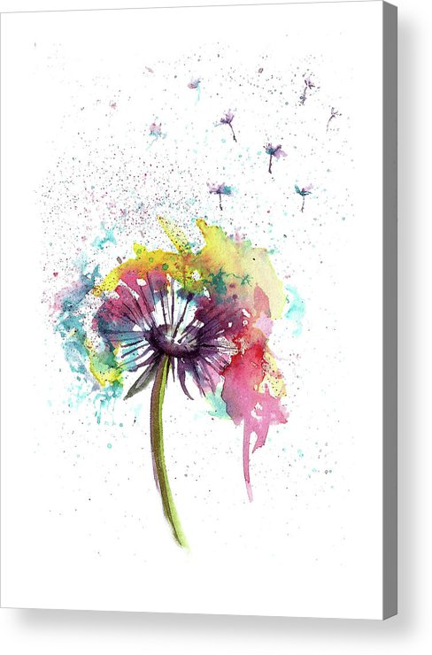 Flower Acrylic Print featuring the painting Dandelions abstract painting by Natalja Picugina