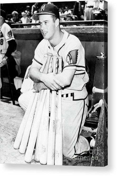 1950-1959 Acrylic Print featuring the photograph Eddie Mathews by National Baseball Hall Of Fame Library