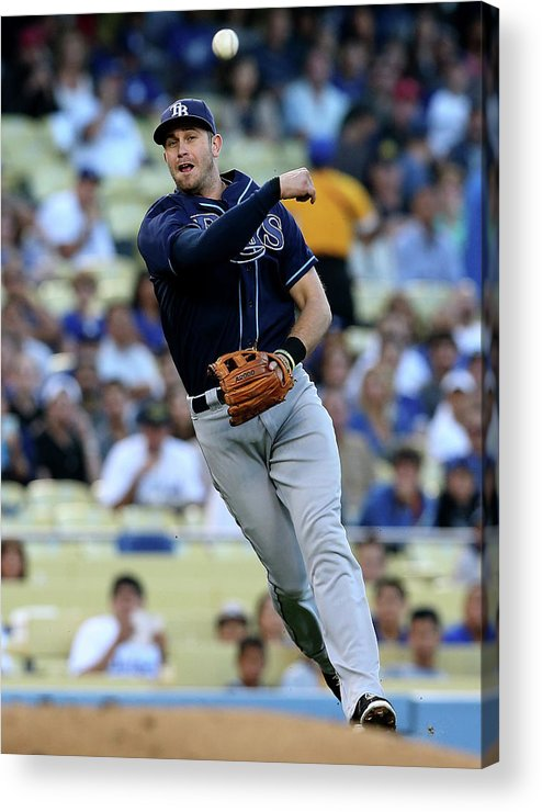American League Baseball Acrylic Print featuring the photograph Evan Longoria and Mark Ellis by Stephen Dunn