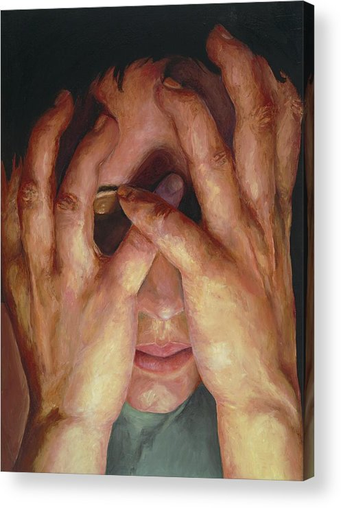 Hands Acrylic Print featuring the painting Feelings by Patricia Awapara