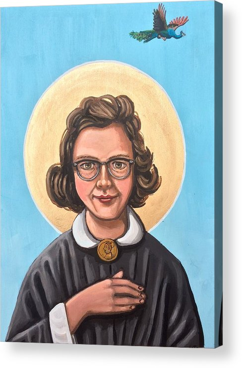 Acrylic Print featuring the painting Flannery O' Connor by Kelly Latimore