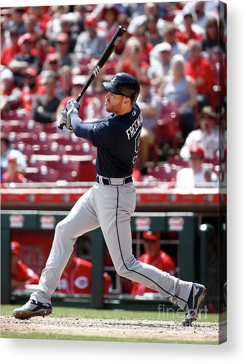 Great American Ball Park Acrylic Print featuring the photograph Freddie Freeman by Andy Lyons