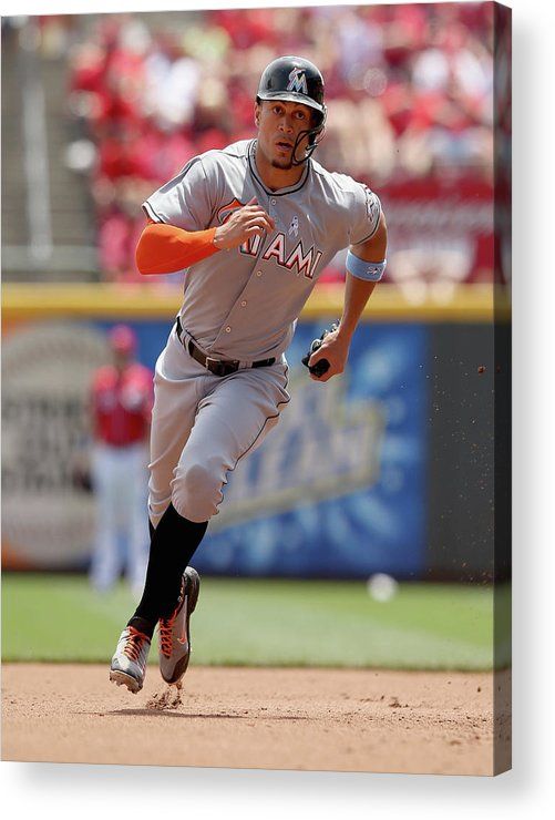 Great American Ball Park Acrylic Print featuring the photograph Giancarlo Stanton by Andy Lyons