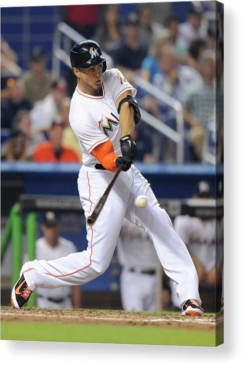 National League Baseball Acrylic Print featuring the photograph Giancarlo Stanton by Rhona Wise
