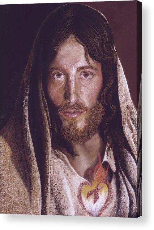 Acrylic Print featuring the pastel Heart of Jesus Pastel by Miriam Kilmer by Miriam A Kilmer
