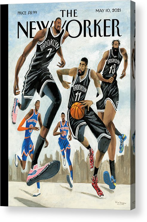 Nyc Acrylic Print featuring the painting Hoop Dreams in New York by Mark Ulriksen