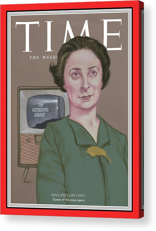 Time Acrylic Print featuring the photograph Irna Phillips, 1957 by TIMEIllustration by Anita Kunz for TIME
