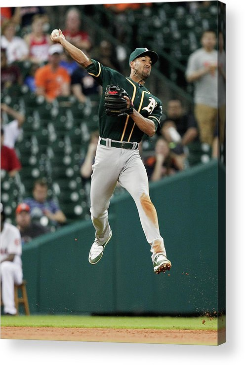 People Acrylic Print featuring the photograph Jake Marisnick and Marcus Semien by Bob Levey