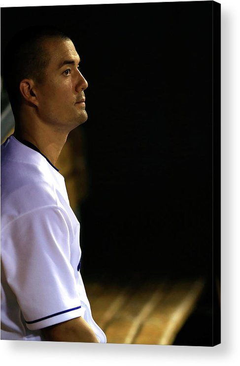 American League Baseball Acrylic Print featuring the photograph Jeremy Guthrie by Jamie Squire