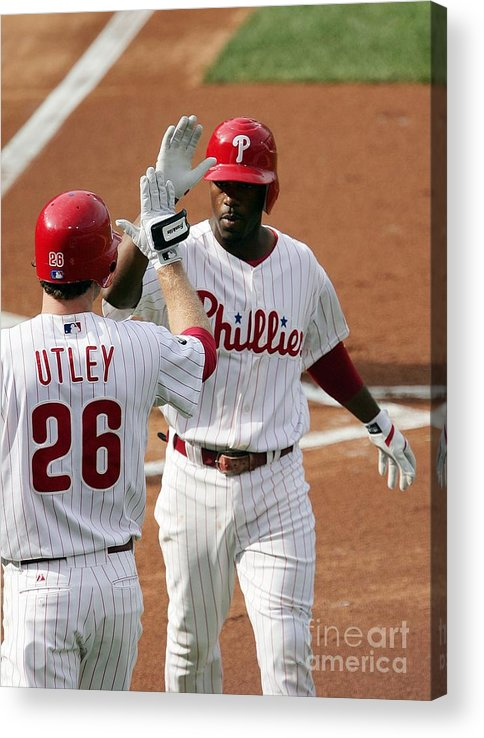 Game Two Acrylic Print featuring the photograph Jimmy Rollins and Chase Utley by Drew Hallowell