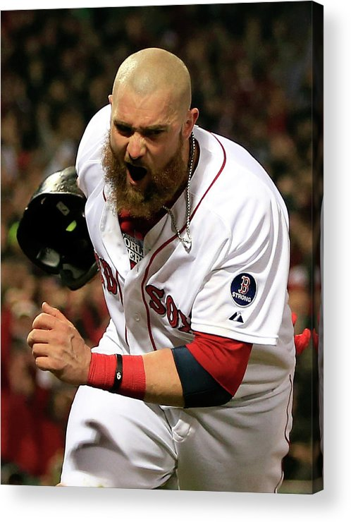 Playoffs Acrylic Print featuring the photograph Jonny Gomes and Shane Victorino by Jamie Squire