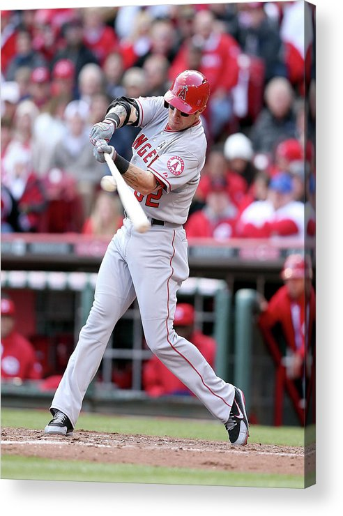 Great American Ball Park Acrylic Print featuring the photograph Josh Hamilton by Andy Lyons