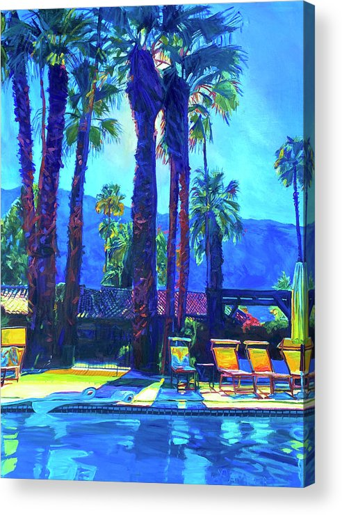 Mountains Acrylic Print featuring the painting Lazy Day by the Pool by Bonnie Lambert