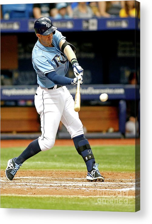 People Acrylic Print featuring the photograph Logan Forsythe and Evan Longoria by Brian Blanco