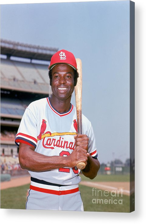 St. Louis Cardinals Acrylic Print featuring the photograph Lou Brock by Lou Requena