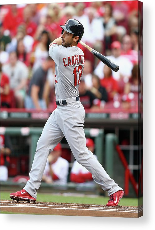 Great American Ball Park Acrylic Print featuring the photograph Matt Carpenter by Andy Lyons