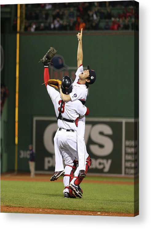 Playoffs Acrylic Print featuring the photograph Matt Carpenter, David Ross, and Koji Uehara by Brad Mangin