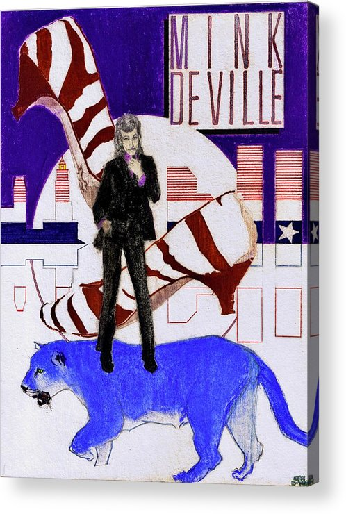 Willy Deville Acrylic Print featuring the drawing Mink DeVille - Le Chat Bleu by Sean Connolly