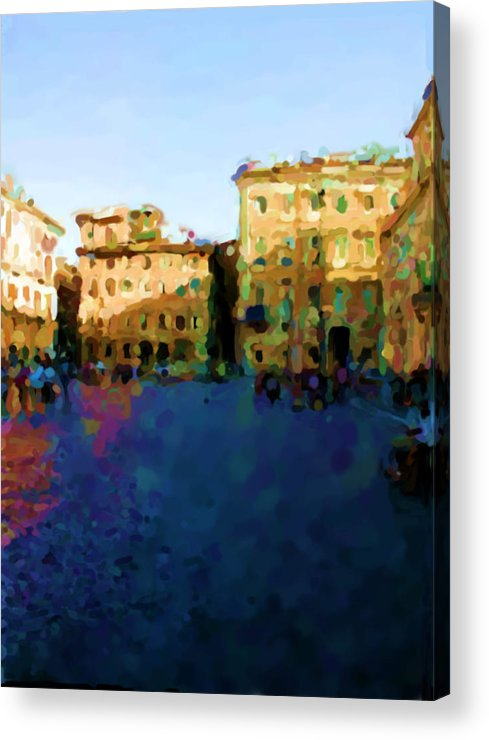 Navona Rome Acrylic Print featuring the mixed media Navona Rome by Asbjorn Lonvig
