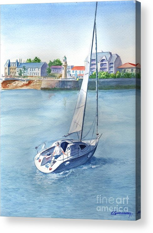 Boat Acrylic Print featuring the painting Ride at Saint Gilles by Christian Simonian