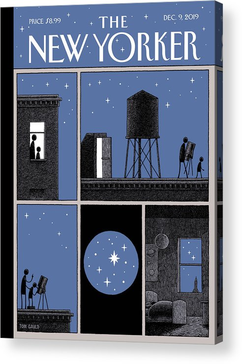 Rooftop Astronomy Acrylic Print featuring the drawing Rooftop Astronomy by Tom Gauld
