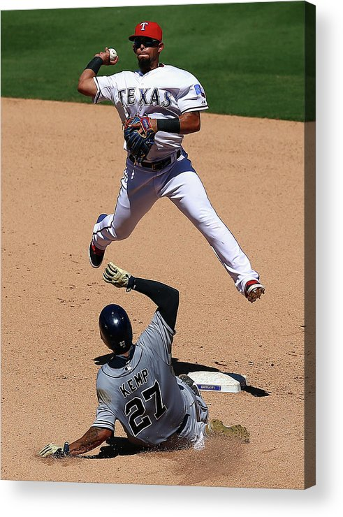 People Acrylic Print featuring the photograph Rougned Odor and Matt Kemp by Ronald Martinez