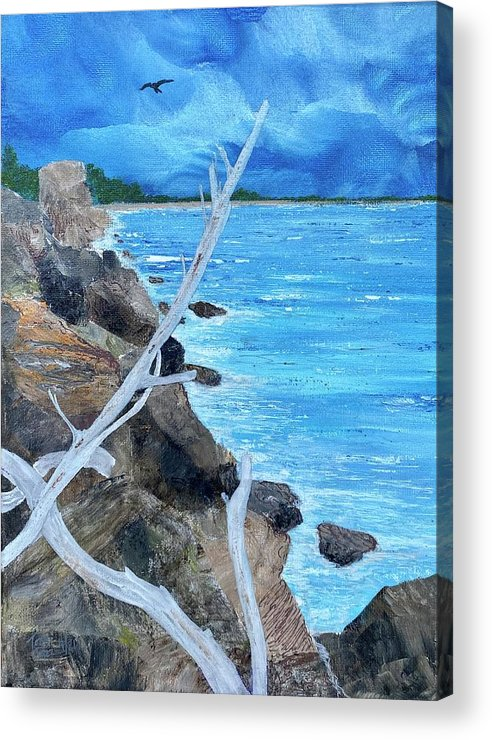 Seascape Acrylic Print featuring the painting Salinas seashore by Tony Rodriguez