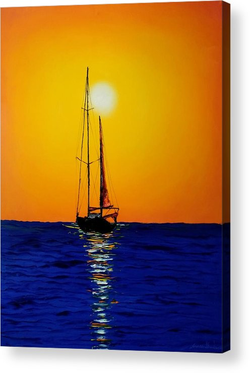 Sailboats Acrylic Print featuring the painting Sunset Sails #10 by Dunbar's Local Art Boutique