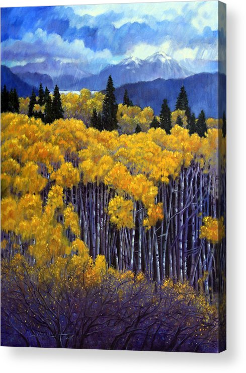 Snow Clouds Over Rocky Mountains Acrylic Print featuring the painting Tall Aspens by John Lautermilch