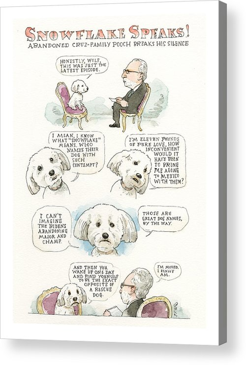 Ted Cruz's Dog Dishes Acrylic Print featuring the painting Ted Cruz's Dog Dishes by Barry Blitt