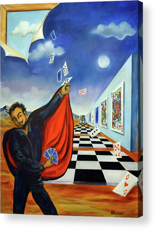 Surreal Landscape Acrylic Print featuring the painting The Magician by Valerie Vescovi