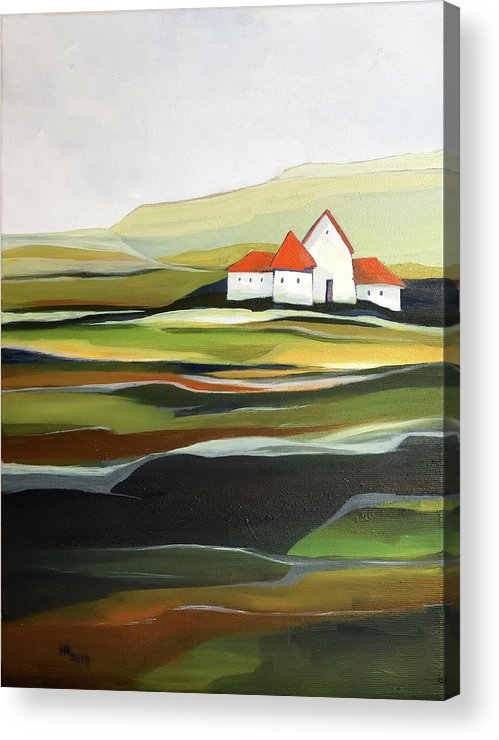 Oil Painting Acrylic Print featuring the painting The quiet land by Aniko Hencz