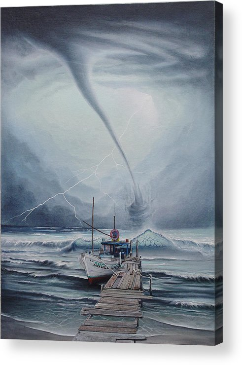 Seascape Acrylic Print featuring the painting Tifon   water sprout by Angel Ortiz