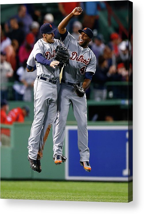 American League Baseball Acrylic Print featuring the photograph Torii Hunter and Austin Jackson by Jared Wickerham