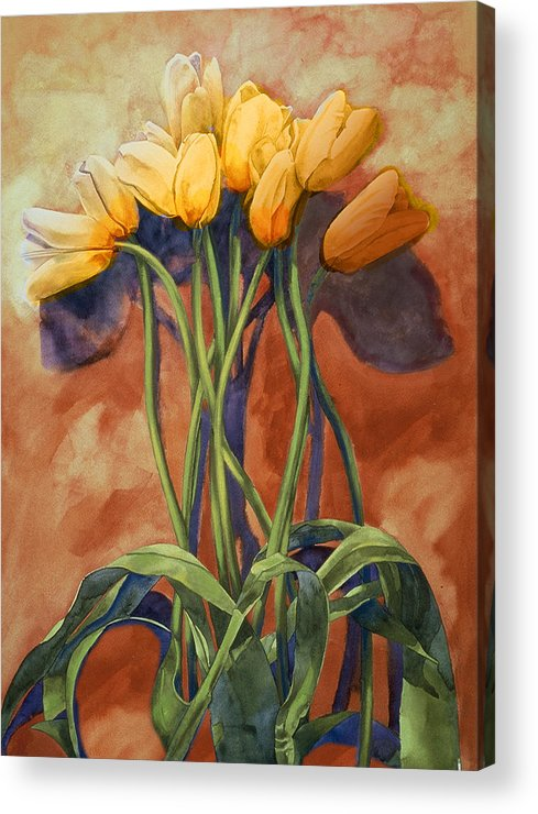 Yellow Tulips Acrylic Print featuring the painting Tulips by Cathy Locke